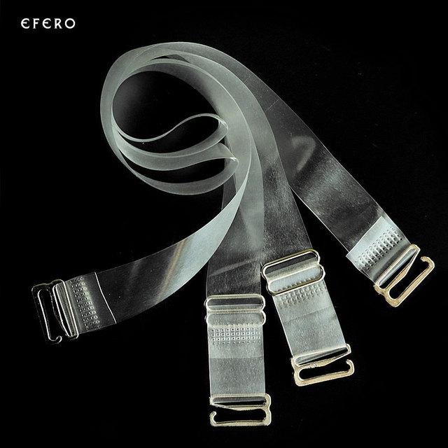 3Pairs=6Pc Metal Buckle Bra Straps Belt Women's Elastic Transparent Silicone Bra Straps Adjustable Baldric Intimates Accessories