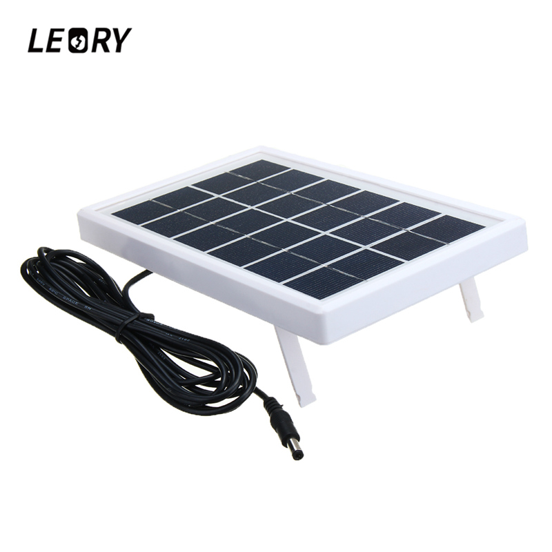 LEORY 6V 3W Polycrystalline Silicon Solar Panel DC5521 Cable DIY Solar System Module For 3.7V Battery Charger DC 6V Outputs