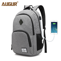 AUGUR New Men Women Backpacks USB Charging Male Casual Back Bag Travel Teenager Student Back To