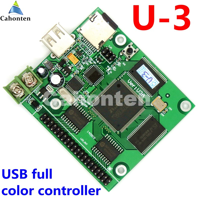 U-3 USB /SD asynchronous full color video led control card 384*128,768*64pixels U disk rgb module led screen drive system пакеты happy baby 15037