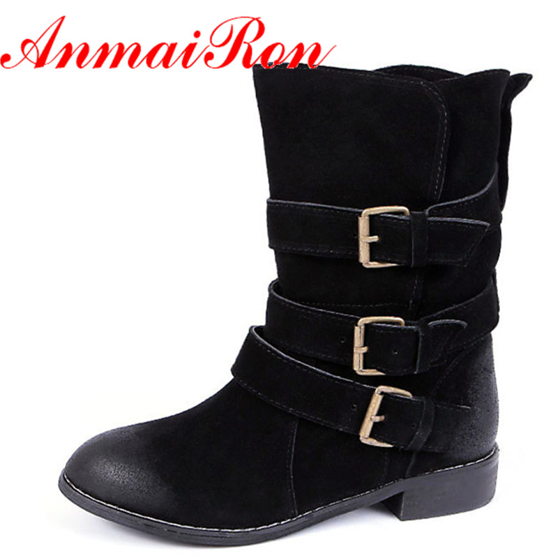 ФОТО ANMAIRON Autumn Spring Classic Buckle Mid-Calf Boots Women Low Heels Nubuck Western Boots Woman Half Boots