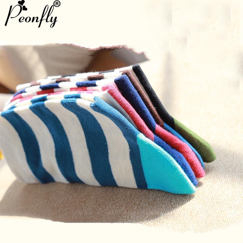 PEONFLY Men Sock 10 Pieces =5 Pairs /lot Package Male Light Socks Stripe Cotton Short Sock Wholesale Couples Socks Sale