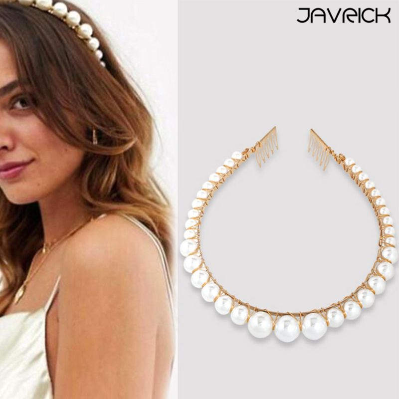 European Retro Palace Metallic Headband Women Girls Big Imitation Pearls Comb Design Hair Hoop Beading Wedding Jewelry Headwear