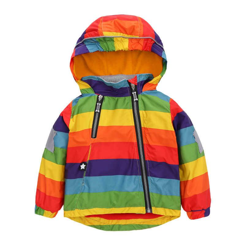 BINIDUCKLING אופנה סתיו חורף תינוק בני בנות מעילי קשת פסים צבעוני מעיל ברדס חם מעיל רוח צמר מעיל