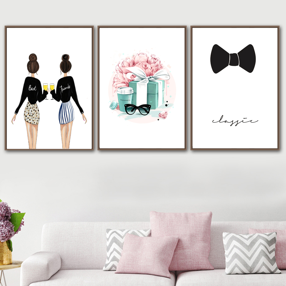 Fashion Girl Glasses Flower Gift Bow Wall Art Canvas Painting Nordic Poster And Prints Wall Pictures For Living Room Home Decor