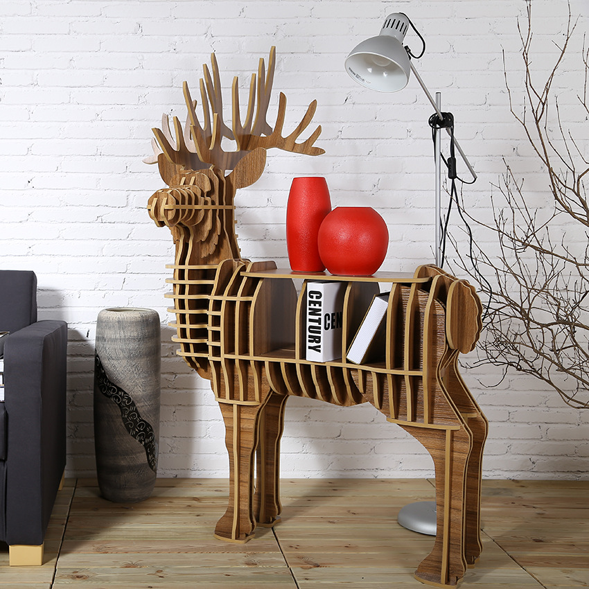 High-end Creative Wood Deer Table Furniture For Home Living Room Hotel Salon Decoration Chrtistmas Deer Europe Fashion TM001M high end 9mm deer drawer desk wood deer table furniture brand new tm002m