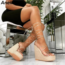Aneikeh Summer Women Cross-tied Platform Wedges Sandals Gladiator Fashion High Heels Shoes Ladies Open Toe Espadrilles Sandals стоимость