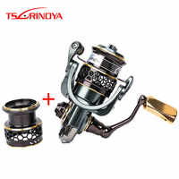 TSURINOYA Jaguar 1000 2000 3000 4000 5000 Spinning Fishing Reel 9+1BB .2:1 4Kg Double Metal Spool Lure Reel Moulinet Peche