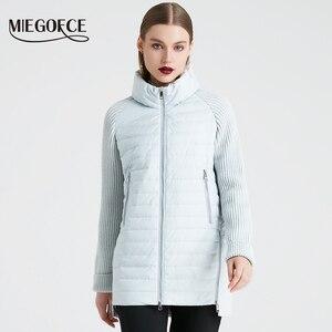 Image 2 - MIEGOFCE 2019 printemps et automne femmes manteau avec col montant manteau court femmes mince coupe vent tricoté manches veste chaude