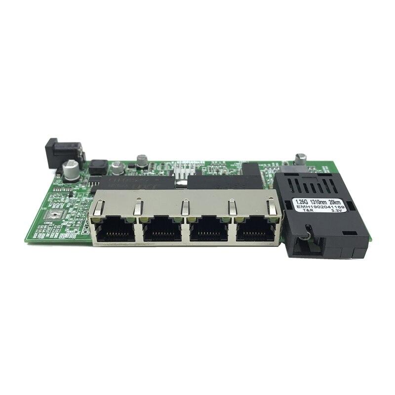 Commutateur Ethernet Gigabit 10/100/1000M à Fiber optique monomode 4 RJ45 et 2 SC carte mère fibre 1.25g 20KM