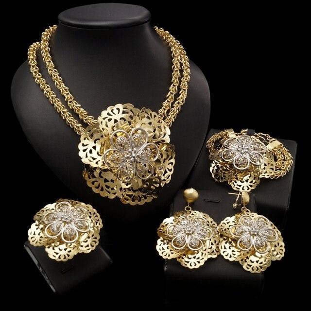 Yulaili Pageantry dekoracyjny wzór Fashion Design zestaw biżuterii dubajskiej duże kwiatowe kształty naszyjnik kolczyki Bracelent Ring