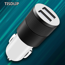 TISDLIP 3.1A 5V Dual USB Car Charger Mobile Phone Charger 2 Port USB Fast Car Charging for iPhone Samsung Tablet Car-Charger high quality universal smart fuse circuit breaker protection dual usb port 5v 2 1a 1a car charger for mobile phones tablet pc