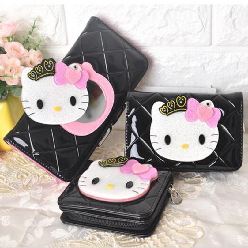 Hello kitty Mirror famous brand cartoon long short leather women wallets coin purse carteira masculina 40