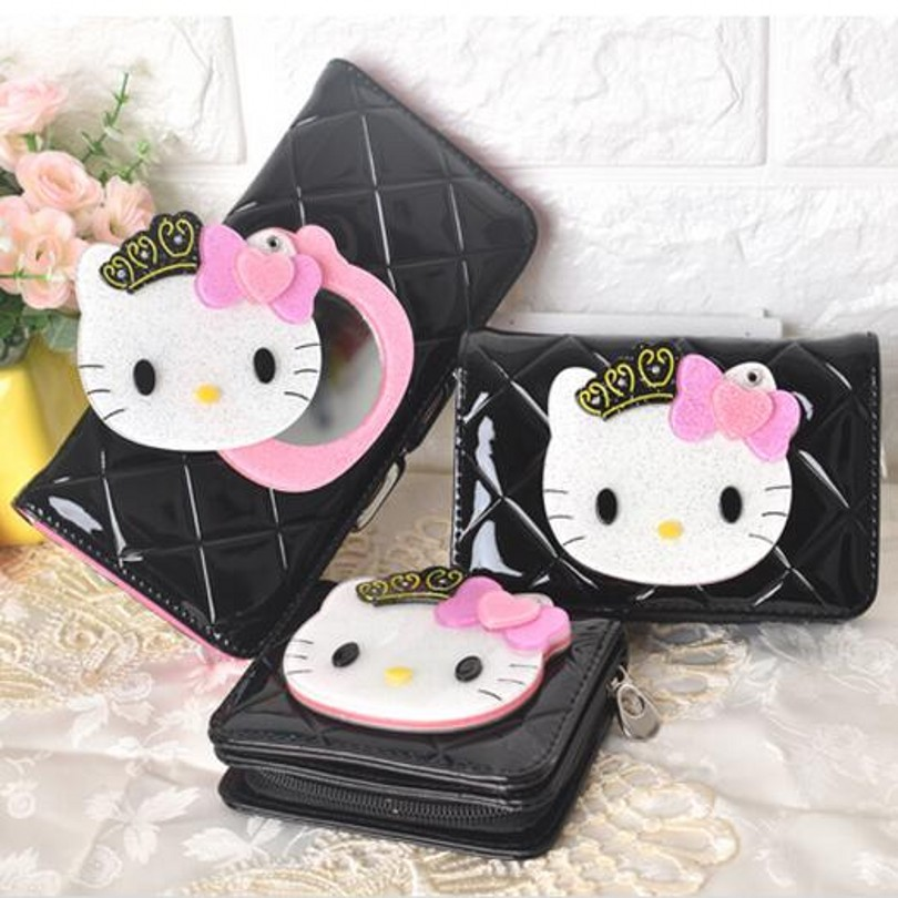 Hello kitty Mirror famous brand cartoon long short leather women wallets coin purse carteira masculina 40 women female bow famous brand designer hello kitty leather long wallets purses carteira feminina couro portefeuille femme 40