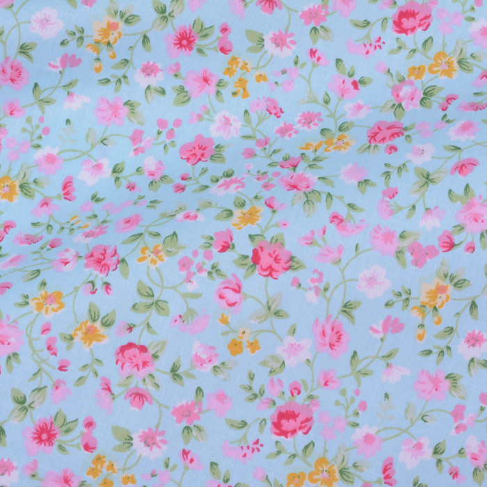 Shabby Chic Light Blue with Pink Small Flowers Printed 100% Cotton ...