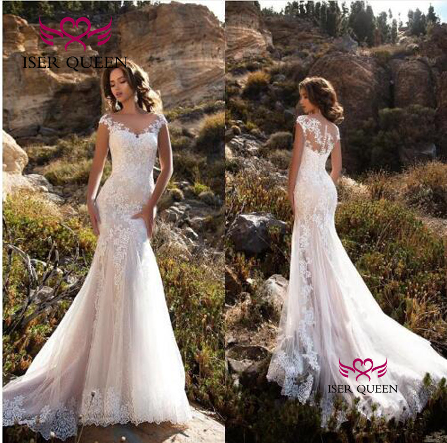 Court Train Sheer Neck Europe Mermaid Wedding Dresses Short Sleeves Lace Appliques Illusion Vintage 2020 Wedding Dress W0484