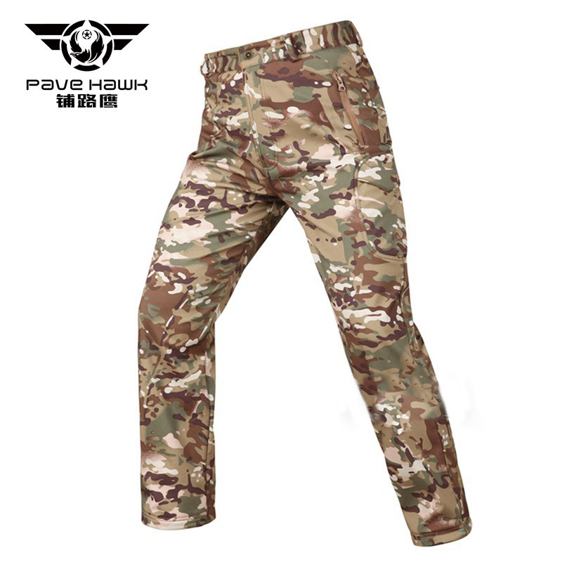 Pave Hawk Winter Shark Skin Soft Shell Tactical Military Camouflage Pants Men Windproof Waterproof Warm Camo Army Fleece Pants