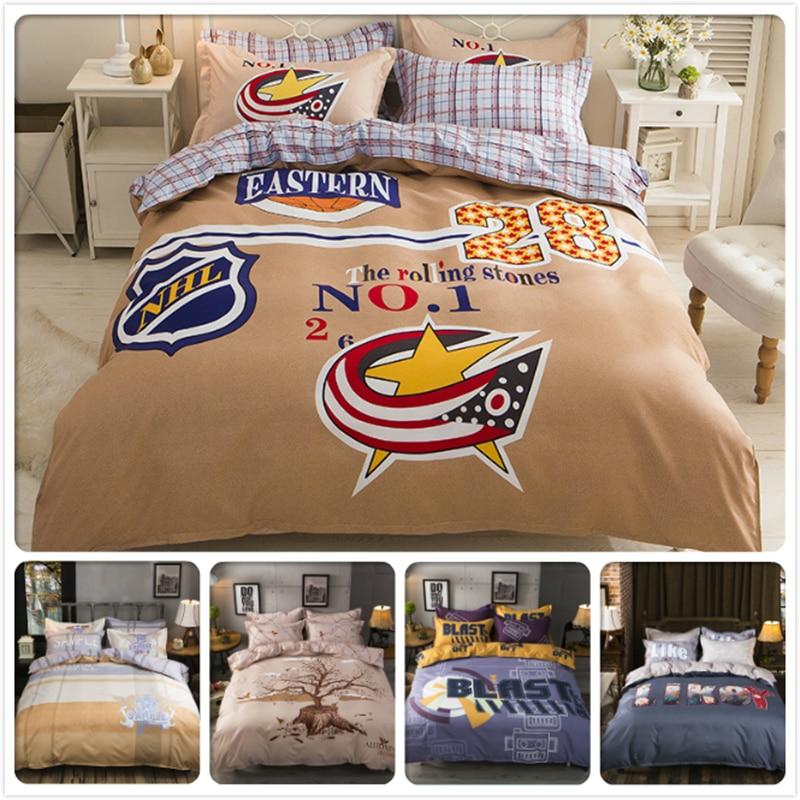 3/4 pcs Bedding Set Creative NO.1 Letter Pattern King Queen Double Twin Size Duvet Cover Kids 1.5m 1.8m 2m Flat Sheet Bed Linens