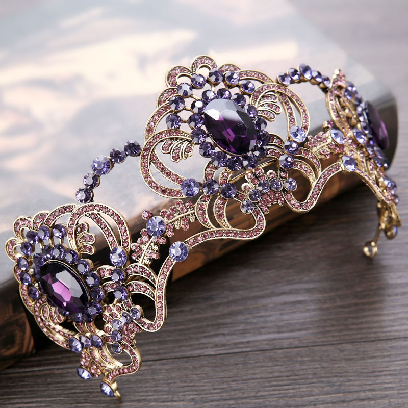 New Vintage Purple Crystal Wedding tiara Bride Crown Hair Jewelry Europe Style Queen Crown Wedding Hair Accessories vintage gold round crystal tiara baroque rhinestones princess queen crown for bride hair accessories wedding crown hair jewelry