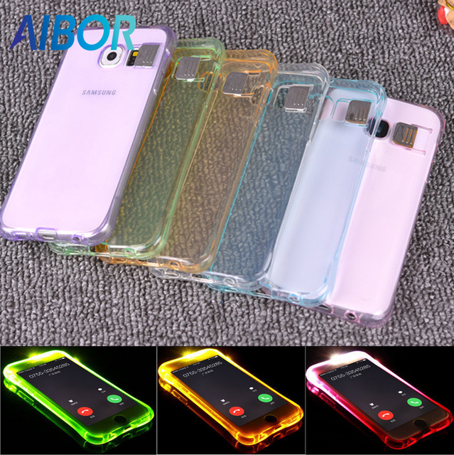 huge selection of 1f522 bd9e3 US $1.28 |Aliexpress.com : Buy AIBOR Soft TPU LED Flash Light Up Case  Remind Incoming Call Cover For Samsung Galaxy S6 S7 EDGE S8 PLUS NOTE 4  NOTE5 ...