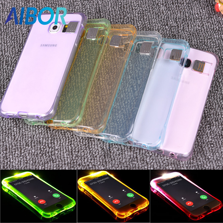 AIBOR Soft TPU <font><b>LED</b></font> Flash Light Up Case Remind Incoming Call Cover For Samsung Galaxy S6 <font><b>S7</b></font> <font><b>EDGE</b></font> S8 PLUS NOTE 4 NOTE5 Grand Prime