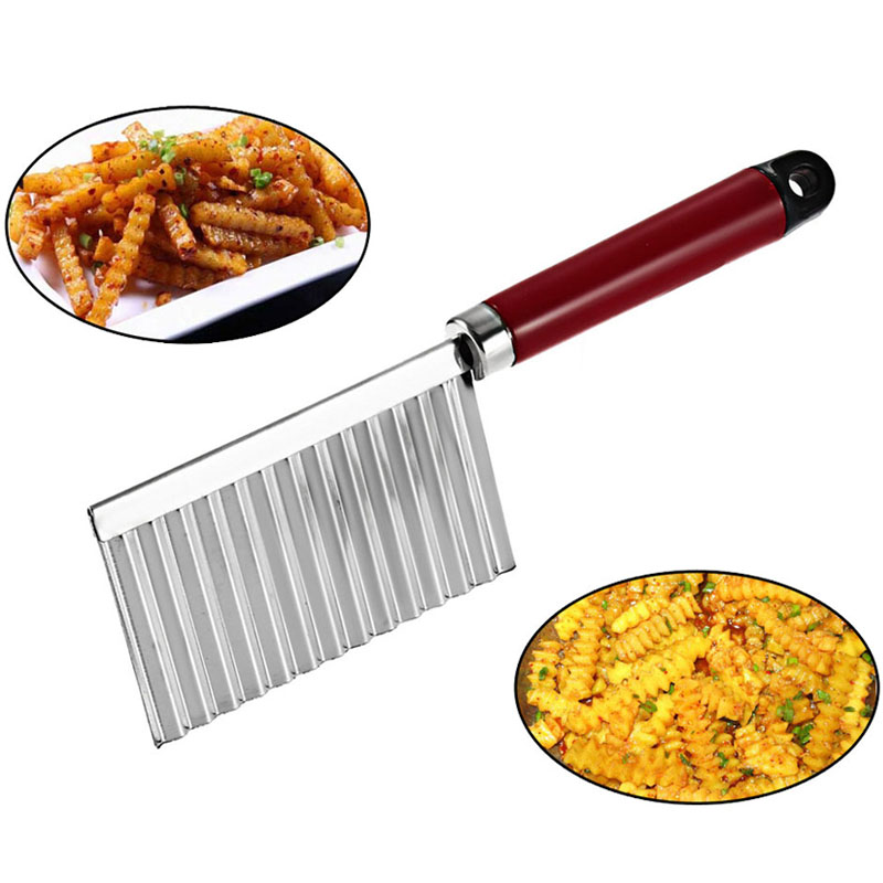 Stainless Steel Potato Wavy Edged Knife Kitchen Gadget Vegetable Fruit Peeler Po