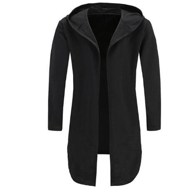 86d13744e7ae Men Hooded Sweatshirts Black Gown Hip Hop Mantle Hoodies Fashion Jacket  Long Sleeve Open Front Cloak