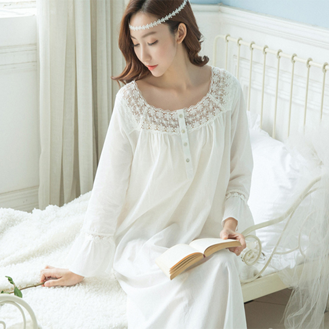b07f149542 2017 Spring and summer woman sexy long sleeved pure cotton retro Nightdress  Palace Dress Home Furnishing Leisure wear