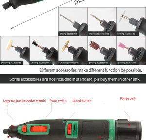 Image 5 - リチウムバッテリー dremel ツール可変速回転工具電動ミニドリル 6 速度グレード 13 とアクセサリー