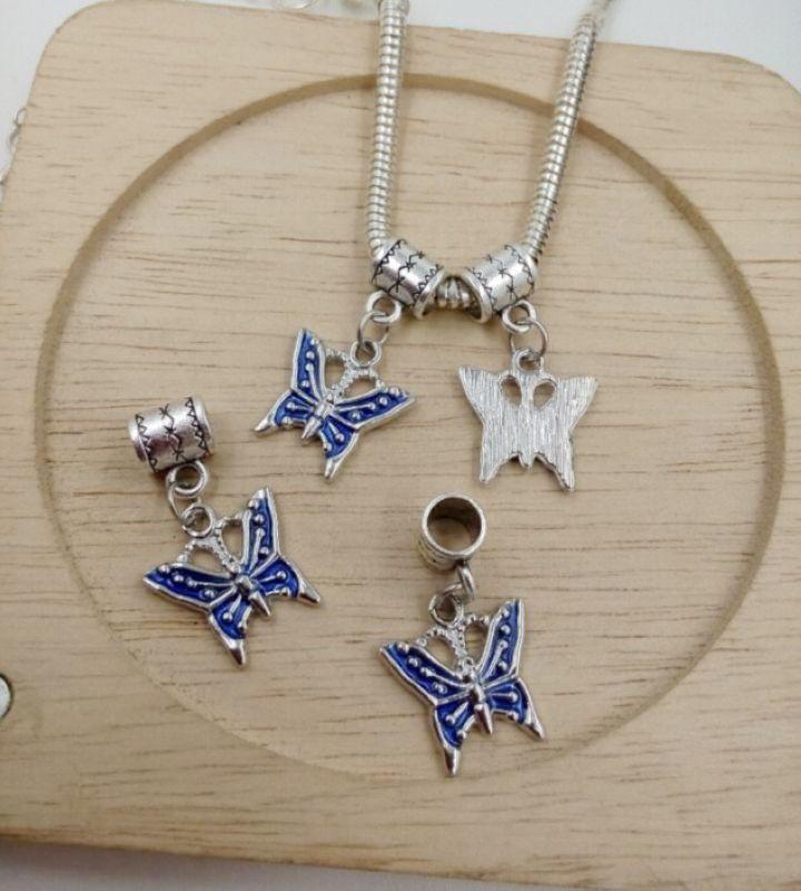 MIC 40pcs Royal Blue Enamel Butterfly Bug Garden Dangle Charms Beads fit European Bracelets 28 x16mm ab651
