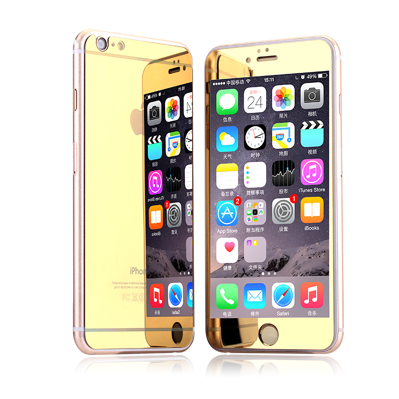 2 pieces/lot front and back Premium Mirror Electroplating Tempered Glass Screen Protector For iPhone 6 6plus 5 5s 4 4s