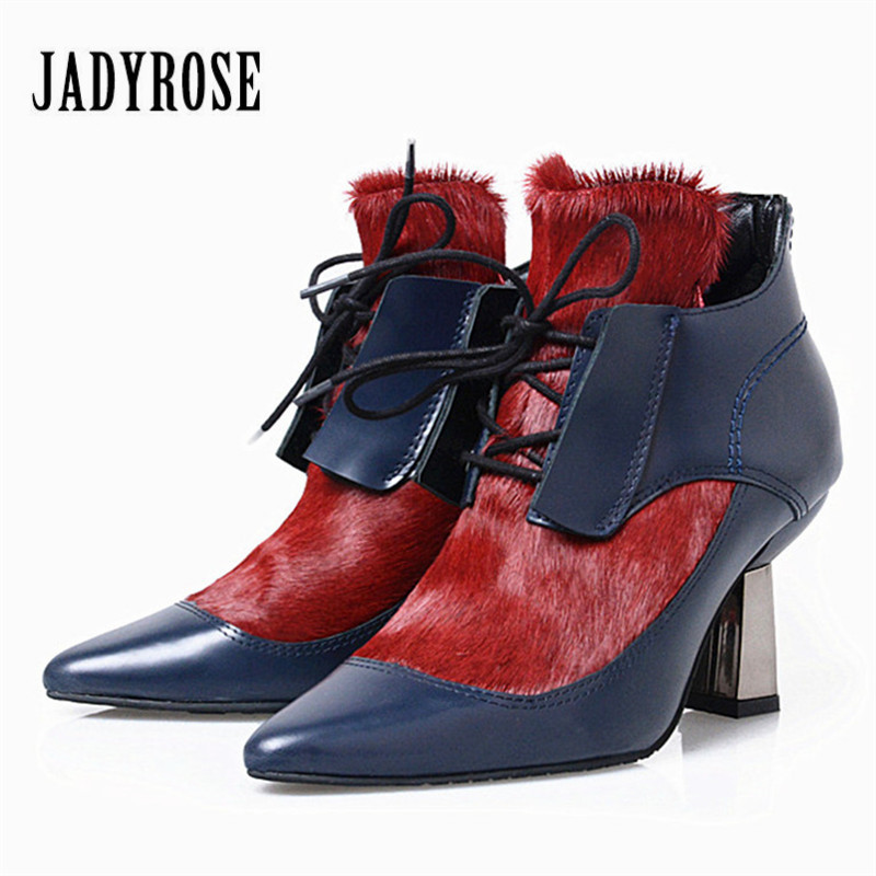 Jady Rose Autumn Horsehair Ankle Boots Fashion Mixed Color Genuine Leather High Heel Shoes Lace Up Strange Heel Women Pumps ...
