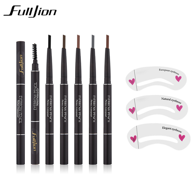 Fulljion Double-Ended Rotatable Eyebrow Pencil with Mascara Brush Waterproof Long Lasting Eyebrow Pen Eyebrow Stencil Makeup Set 1