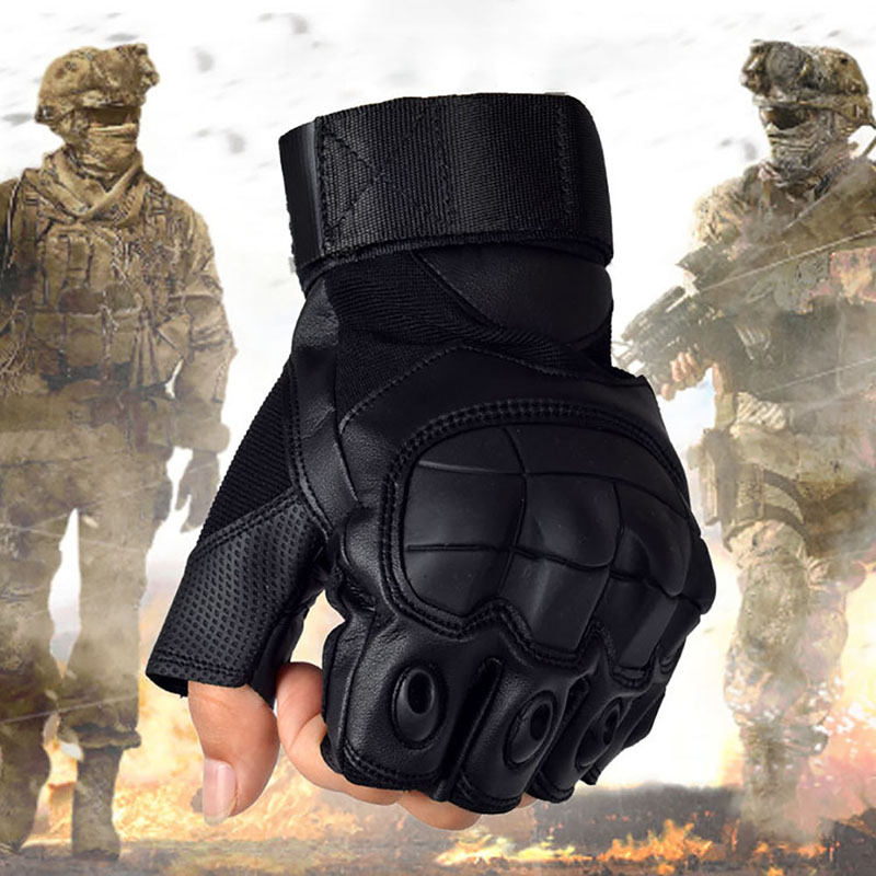 Outdoor Anti-Skid Tactics Military Shell Half Finger Gloves Paintball Shooting Airsoft Combat Rubber Knuckle Tactical Gloves