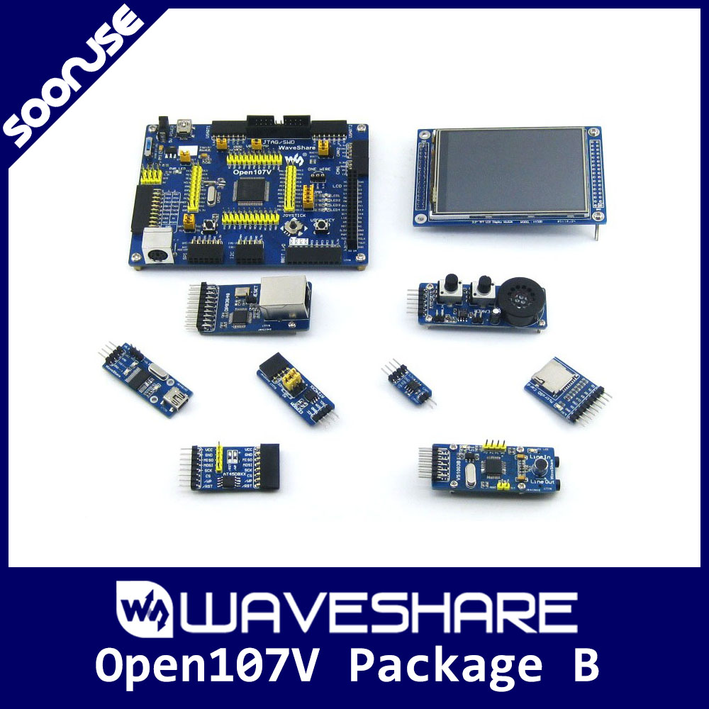 Waveshare Open107V Pack B STM32F107VCT6 STM32F107 ARM Cortex-M3 STM32 Development Board + 8 Modules