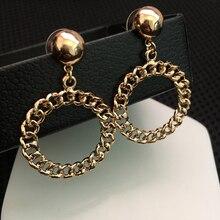punk women fashion gold drop earrings bohemian statement jewelry chain oorbellen hangers bijoux femme