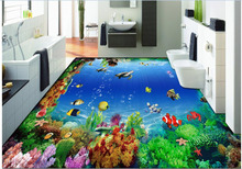 Custom photo 3d pvc flooring waterproof mural bedroom sticker Marine coral fish painting 3d wall murals wallpaper for walls 3d
