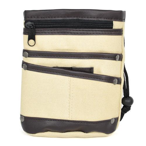 Casual Canvas Waist Bag Multi Pocket Fanny Pack Purse Wallets - Khaki