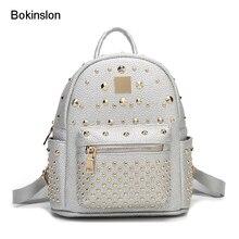 Bokinslon Для женщин двойной плечо рюкзак мода корова Разделение кожа сумка заклепки сплошной Цвет популярны небольшой свежий Рюкзаки