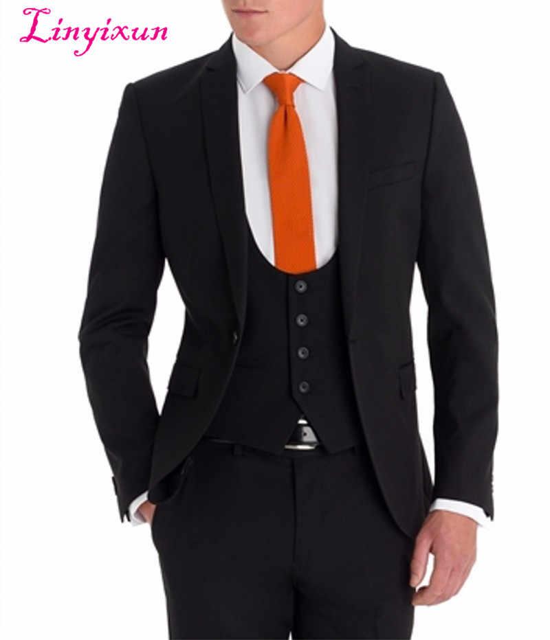 Linyixun真新しい花婿の付添人ノッチラペル新郎タキシードブラックスリムフィット男性スーツウェディング最高の男ブレザー(ジャケット+パンツ+ベスト)