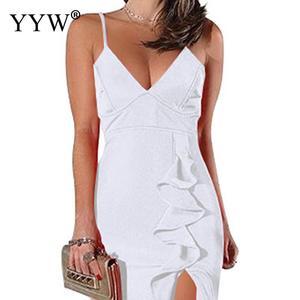 Image 4 - 섹시한 V 넥 프릴 여성 이브닝 드레스 2020 여름 스파게티 스트랩 긴 파티 드레스 사이드 슬릿 불규칙한 우아한 공식 드레스