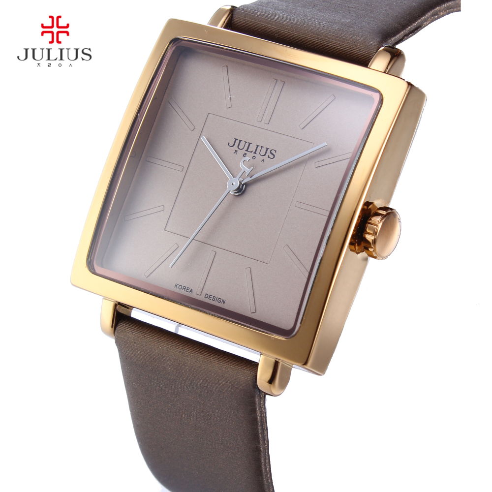Top Brand JULIUS Quartz Lady Watches Women Luxury Rose Gold Antique Square Leather Dress Wrist Watch Relogio Feminino Montre