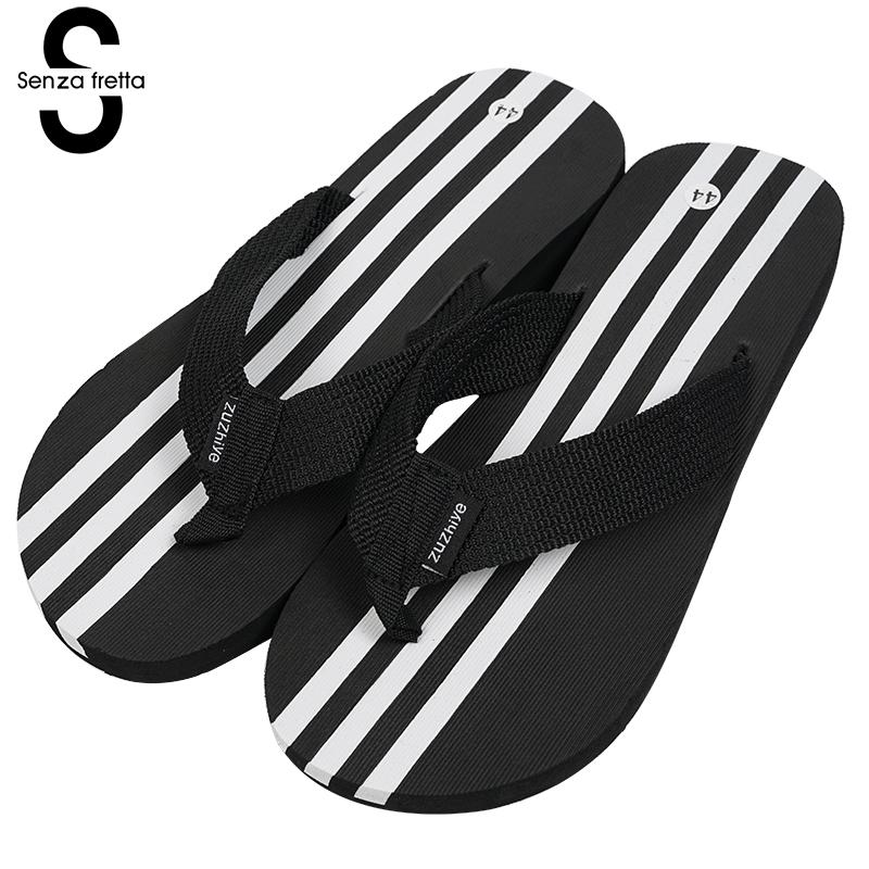 Senza Fretta Men Shoes Summer Flip Flops Striped Sandals Flip Flops Outdoor Beach Men Flip Flops Beach Fashion Soft Men Shoes senza fretta men shoes flip flops beach sandals casual summer eva slippers shoes men casual non slip sandals flip flops shoes