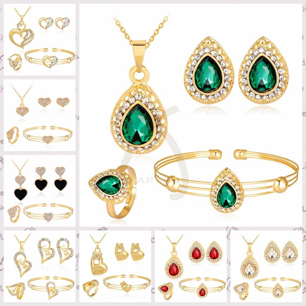 Sweet Love Heart Hollow Rhinestones Pendant Necklace Earrings Ring Bracelet Bridal Women Girls Child Fashion Jewelry Sets