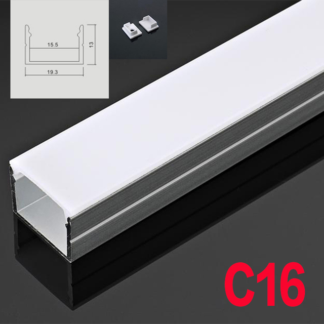 C16 5 Sets 50cm U Shape LED Aluminum Channel System With Diffuse Cover End Caps Aluminum Profile for Flexible LED Strip Light