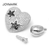 Сердце Форма Micro Star проложить Циркон Серебро Многофункциональный Fine Jewelry застежка для Pearl Цепочки и ожерелья браслет делая SC CZ063