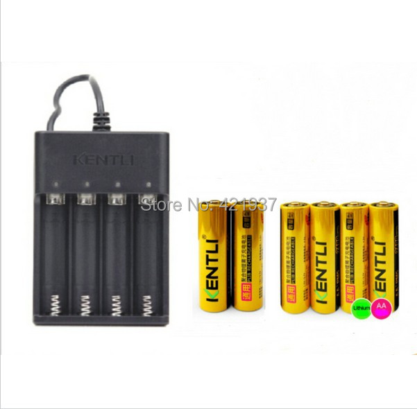 KENTLI 6pcs 1.5V AA 2400mWh mAh Lithium Li-ion Li-polymer Rechargeble Battery + USB Quick charger