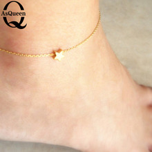 Gold Plated Barefoot Star Chain Beach Jewelry Ankle Bracelet Anklet Barefoot Jewelry Bracelet On The Leg 2017 simple