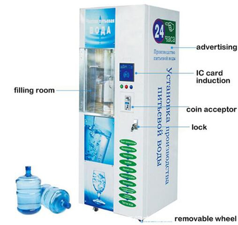 Free Shipping By Sea 200GPD Commercial Coin Operated Bottle Water Vending Machine Hot Selling
