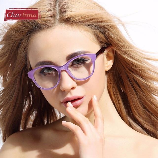 68226667444 Chashma Brand Eye Glasses TR 90 Quality Female Frame Eyeglasses Frame  Transparent Glasses Clear Color Purple